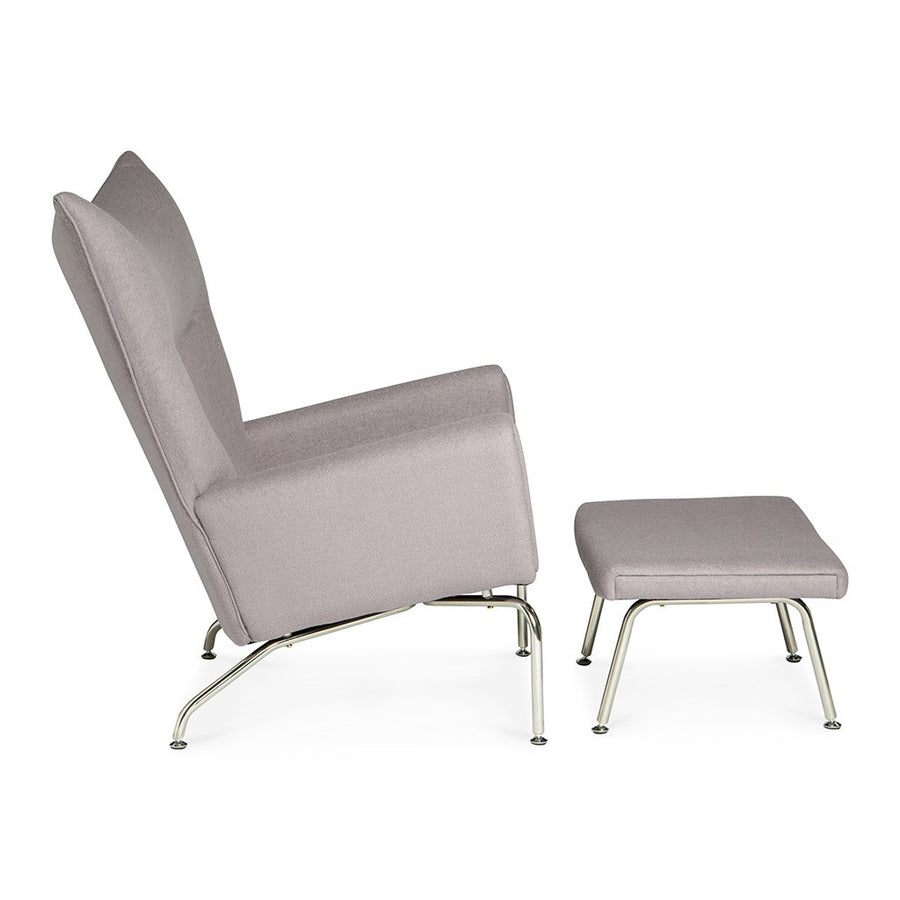 Mid Century Modern Replica Hans J. Wegner Cashmere CH445 Wing Chair and Ottoman in Light Grey