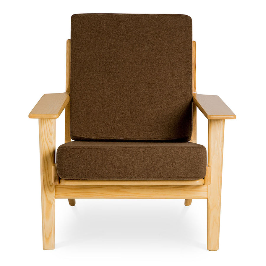 Mid Century Modern Replica Hans J. Wegner Cashmere and Wooden Plank Easy Chair (GE 290) in Brown
