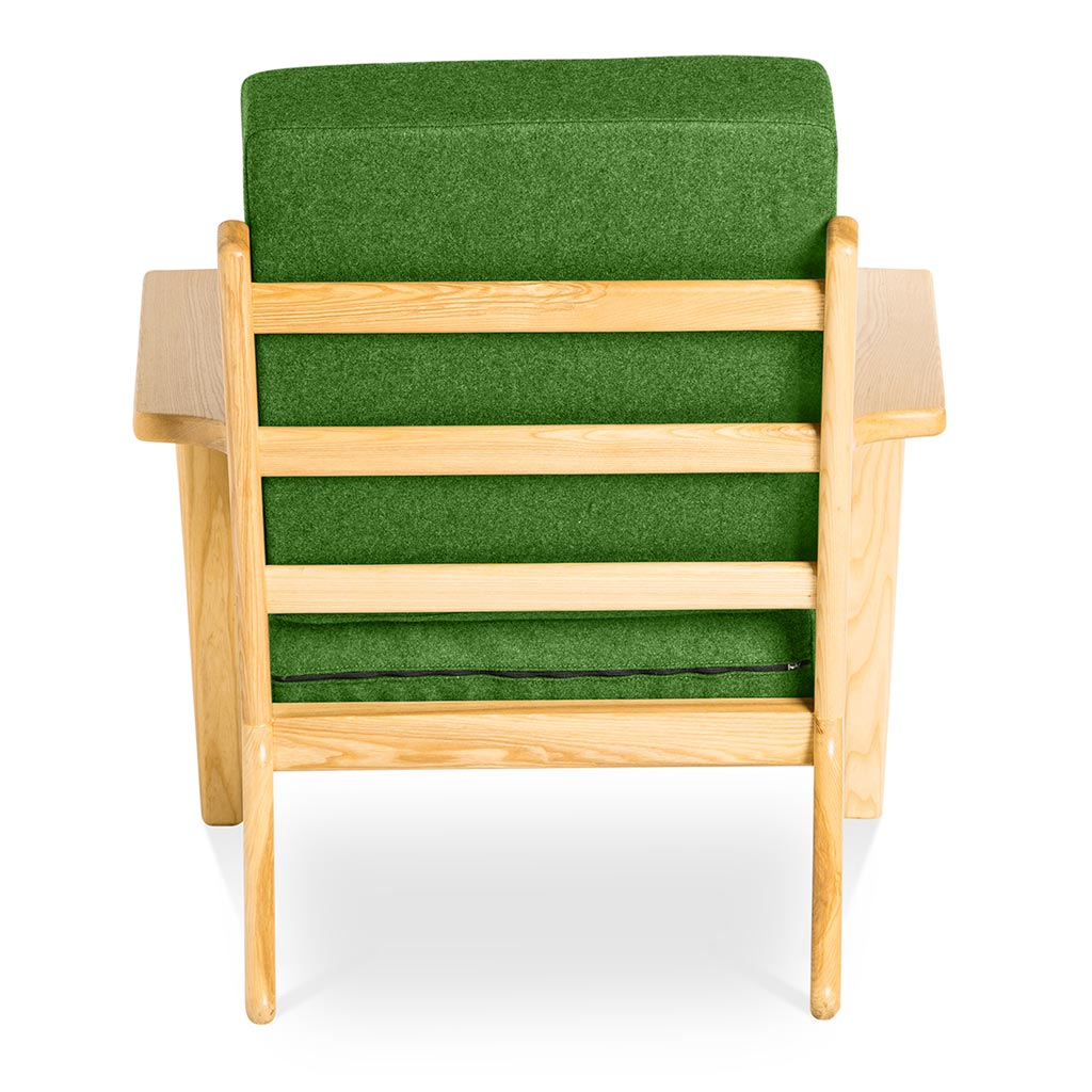 Mid Century Modern Replica Hans J. Wegner Cashmere and Wooden Plank Easy Chair (GE 290) in Green