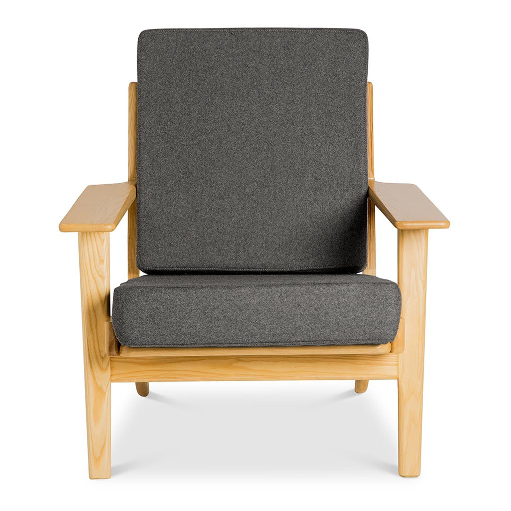 Mid Century Modern Replica Hans J. Wegner Cashmere and Wooden Plank Easy Chair (GE 290) in Grey