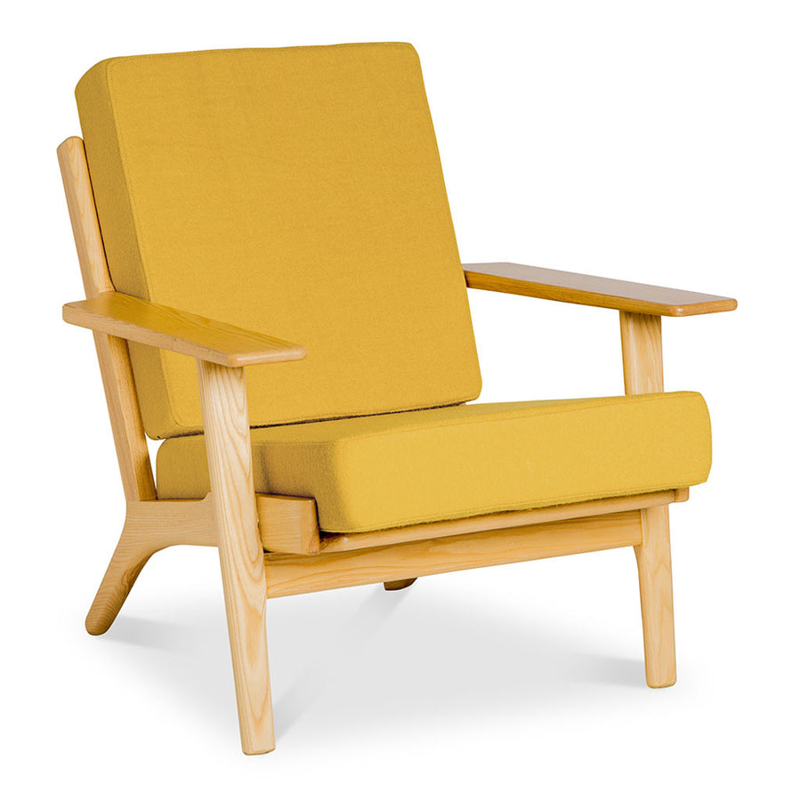 Mid Century Modern Replica Hans J. Wegner Cashmere and Wooden Plank Easy Chair (GE 290) in Mustard Yellow