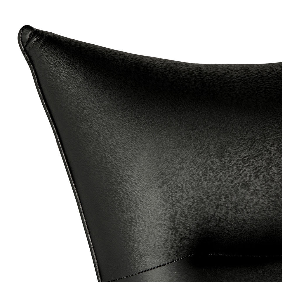 Wegner CH445 Wing Chair + Ottoman Replica (Leather) - Black