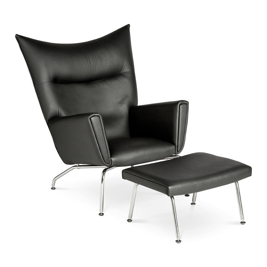 Mid Century Modern Replica Hans J. Wegner Leather CH445 Wing Chair and Ottoman in Black