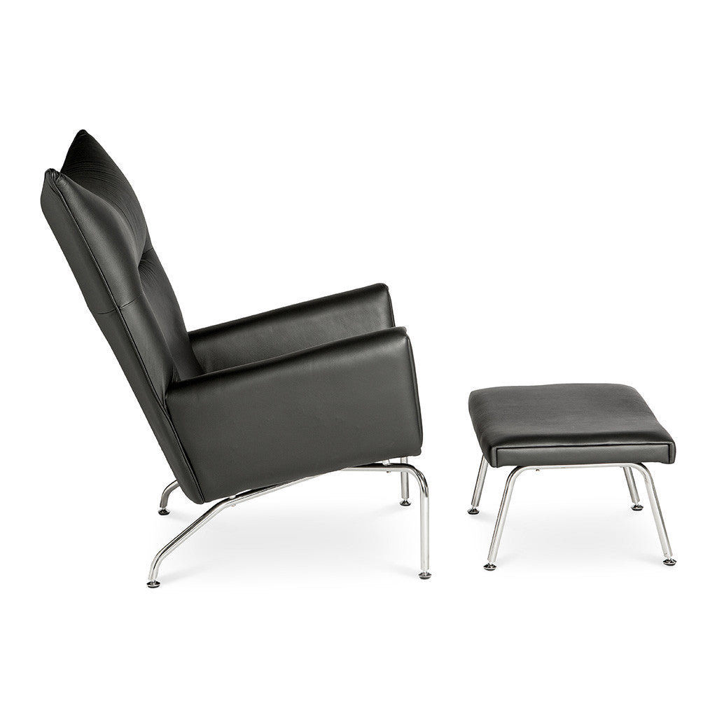 wegner ch445 wing chair ottoman replica leather black the