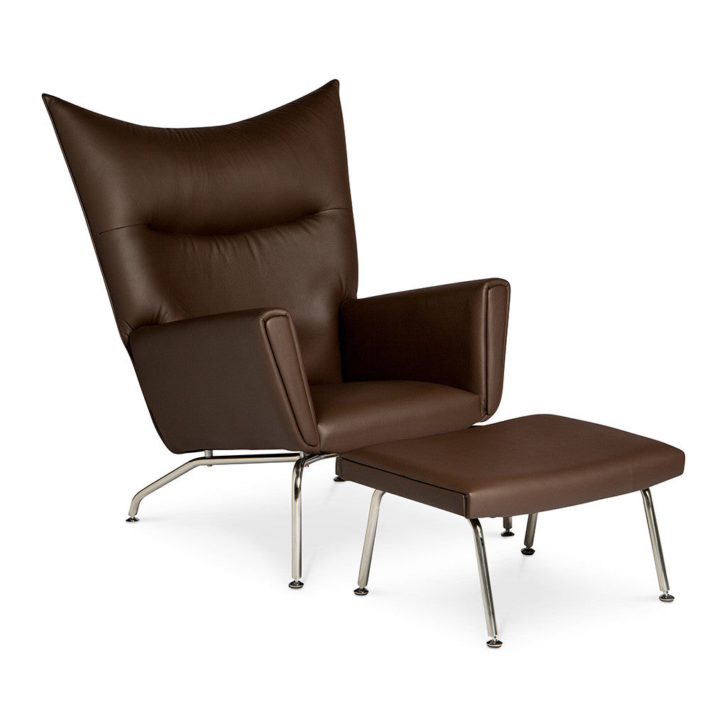 Wegner Ch445 Wing Chair Ottoman Replica Leather Mocha