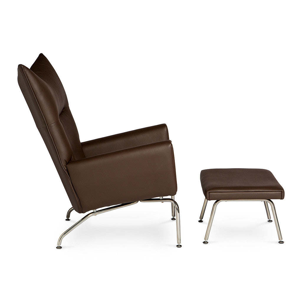 Mid Century Modern Replica Hans J. Wegner Leather CH445 Wing Chair and Ottoman in Brown