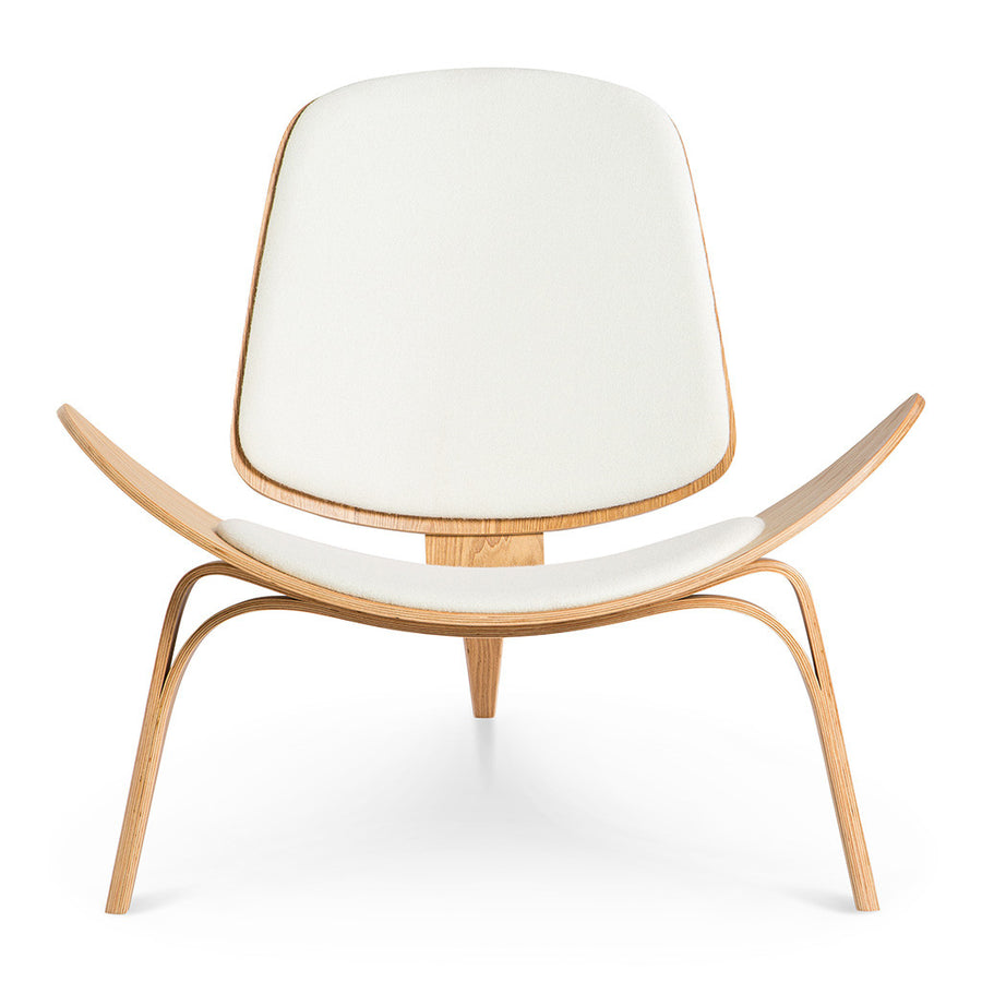Mid Century Modern Replica Hans J. Wegner Moulded Plywood and Cashmere CH07 Shell Chair in White