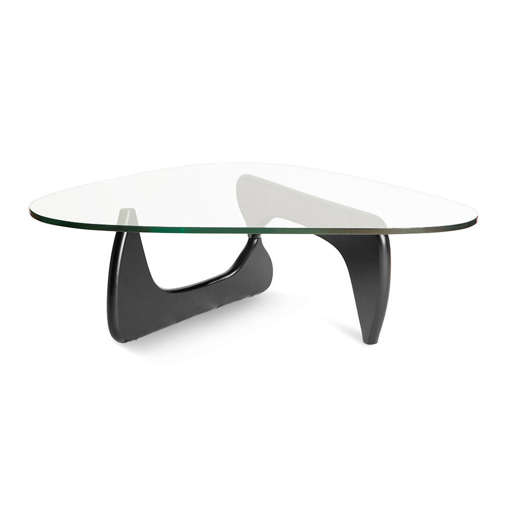Mid Century Modern Replica Isamu Noguchi Wooden and Glass Noguchi Coffee Table in Black