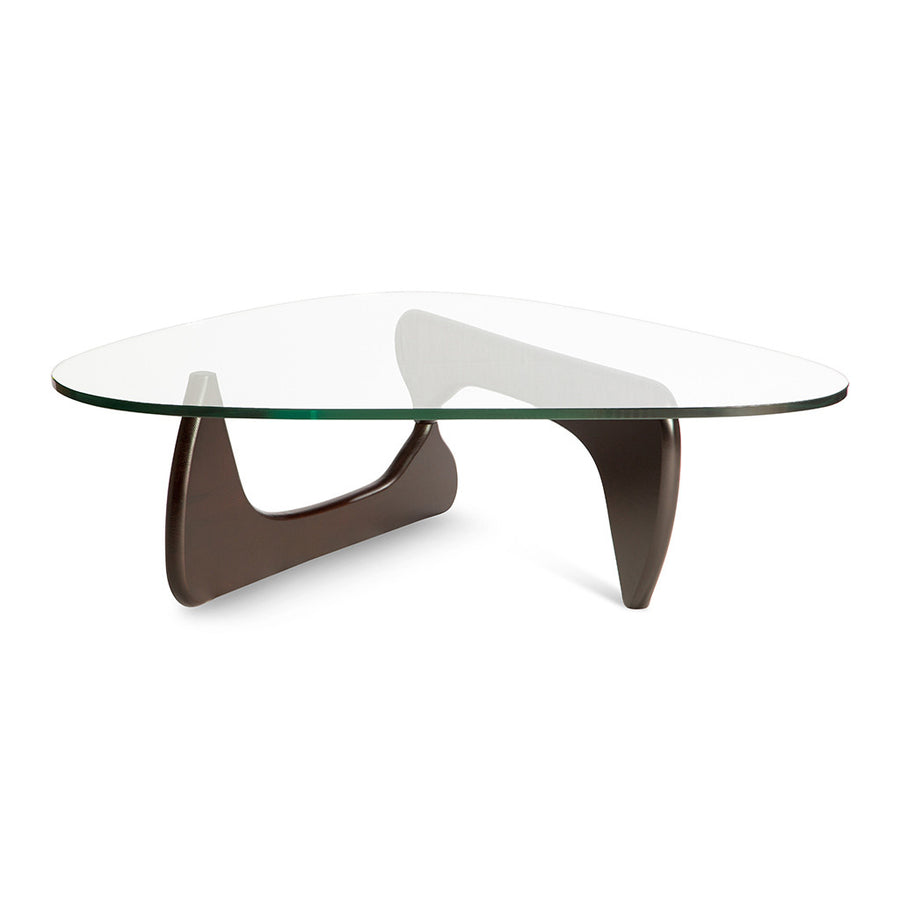 Mid Century Modern Replica Isamu Noguchi Wooden and Glass Noguchi Coffee Table in Dark Walnut