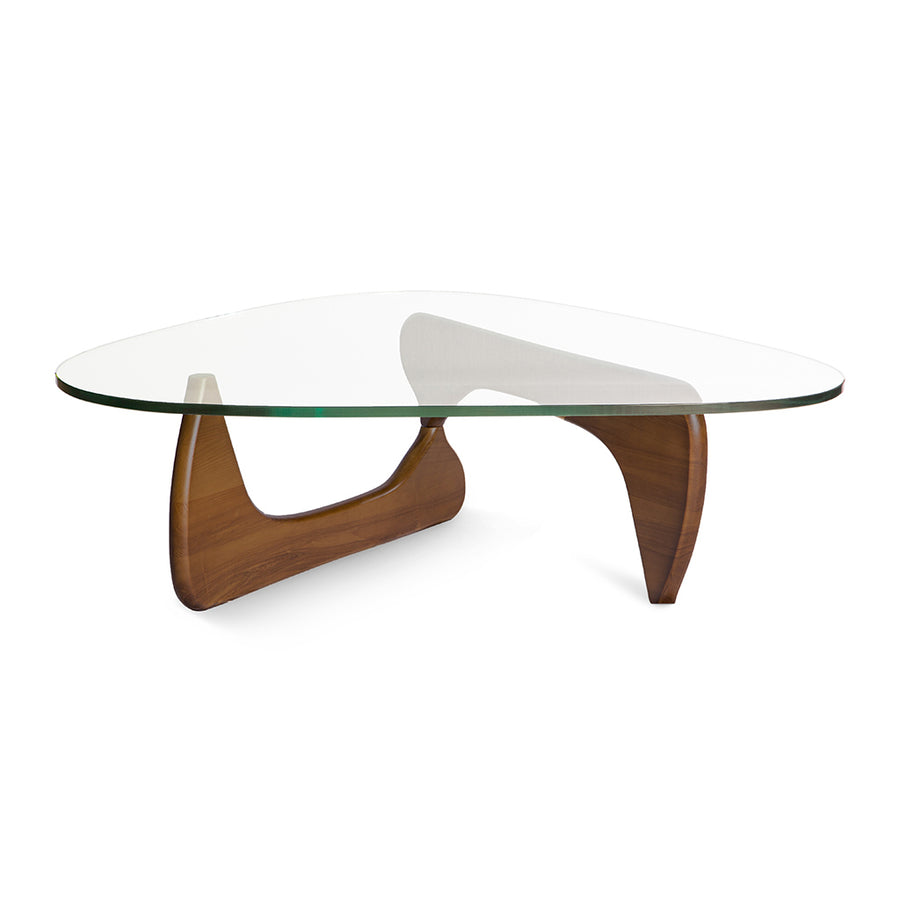 Mid Century Modern Replica Isamu Noguchi Wooden and Glass Noguchi Coffee Table in Light Walnut