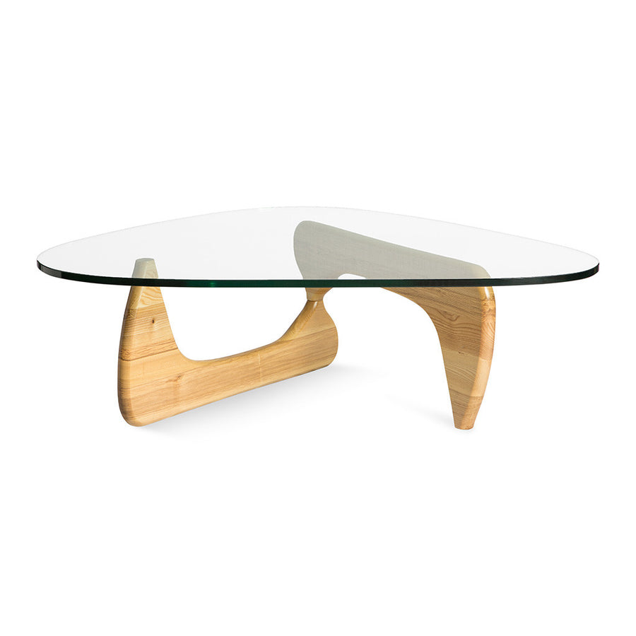 Mid Century Modern Replica Isamu Noguchi Wooden and Glass Noguchi Coffee Table in Natural