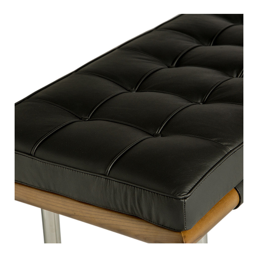 Mid Century Modern Replica Ludwig Mies van der Rohe Leather Barcelona Bench - Large in Black
