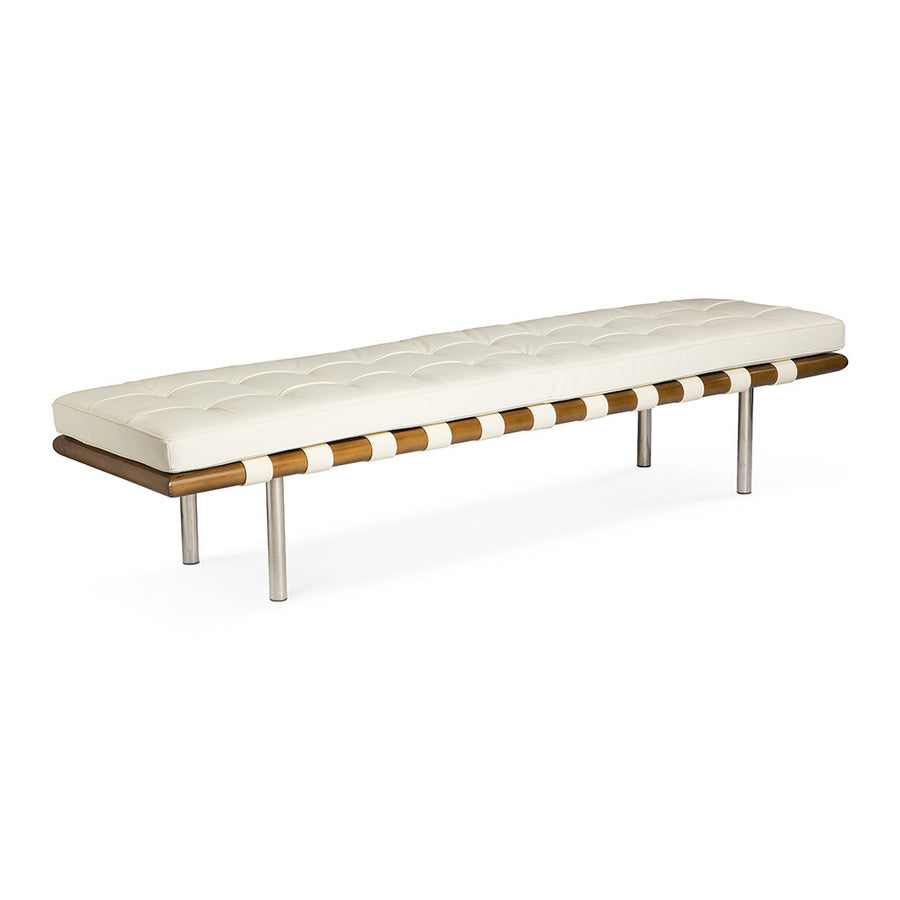 Mid Century Modern Replica Ludwig Mies van der Rohe Leather Barcelona Bench - Large in White