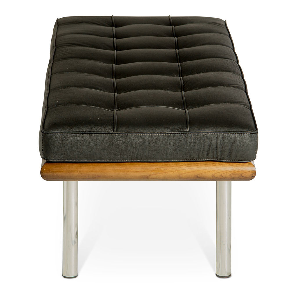 Mid Century Modern Replica Ludwig Mies van der Rohe Leather Barcelona Bench - Small in Black