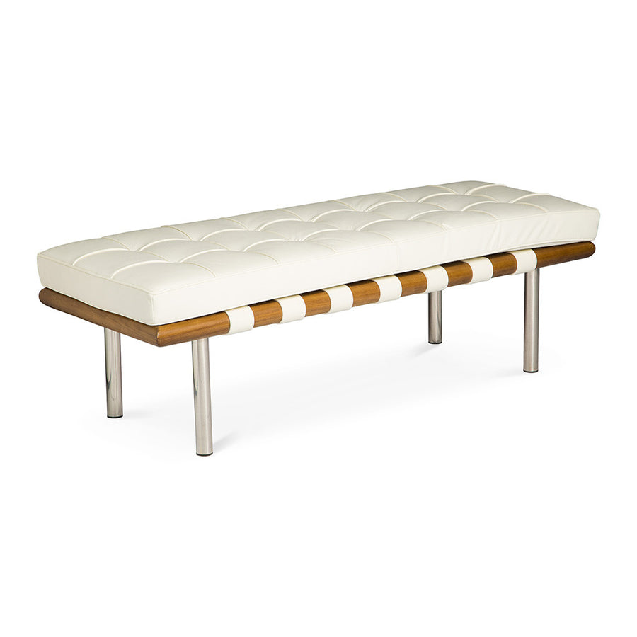 Mid Century Modern Replica Ludwig Mies van der Rohe Leather Barcelona Bench - Small in White
