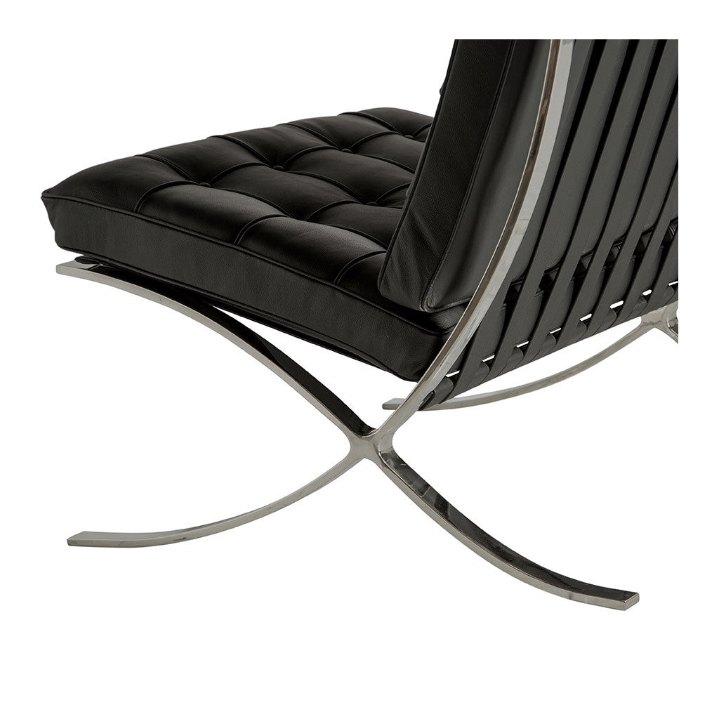 Mid Century Modern Replica Ludwig Mies van der Rohe Leather Barcelona Chair in Black  sc 1 st  The Design Edit & Black Barcelona Chair Replica - The Design Edit
