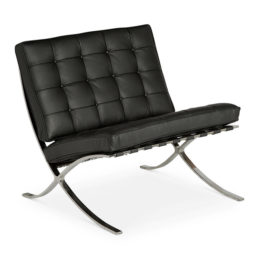 Mid Century Modern Replica Ludwig Mies van der Rohe Leather Barcelona Chair in Black