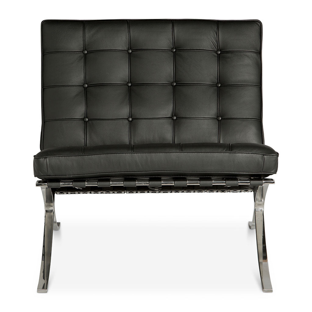 Beau Mid Century Modern Replica Ludwig Mies Van Der Rohe Leather Barcelona Chair  In Black