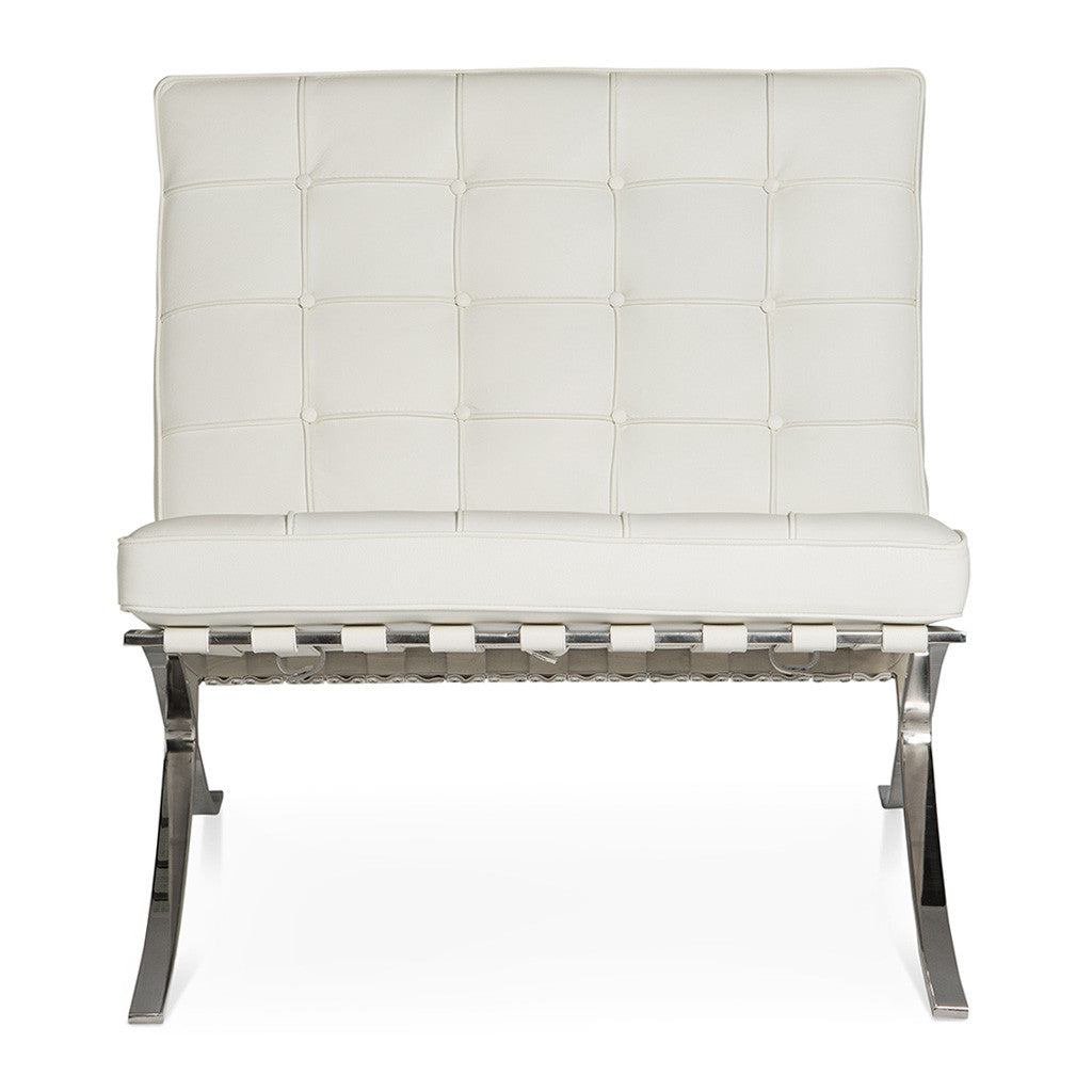 Mid Century Modern Replica Ludwig Mies van der Rohe Leather Barcelona Chair in White  sc 1 st  The Design Edit & White Barcelona Chair Replica - The Design Edit
