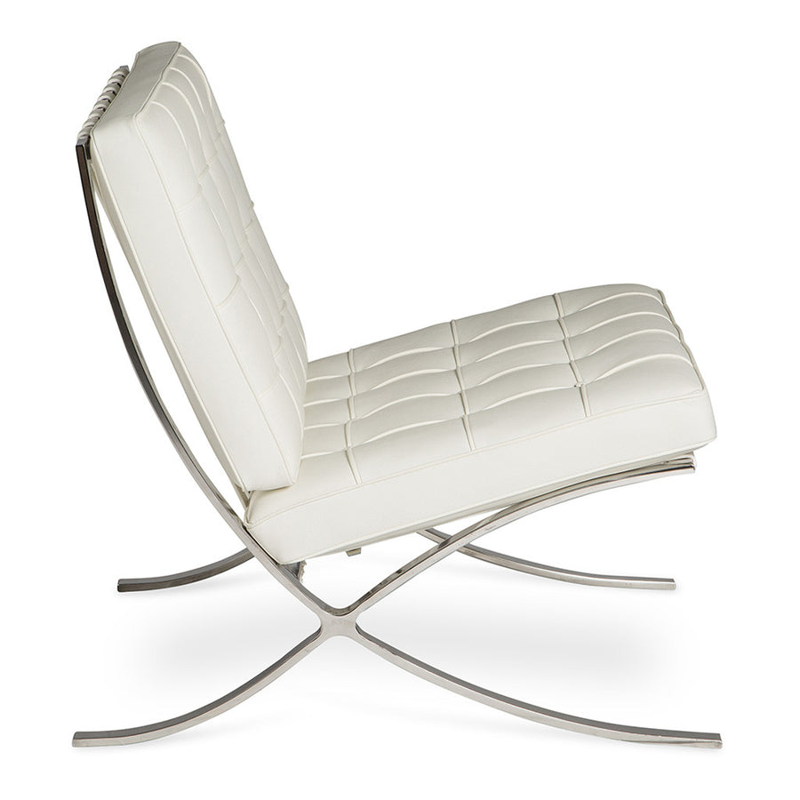 Mid Century Modern Replica Ludwig Mies van der Rohe Leather Barcelona Chair in White