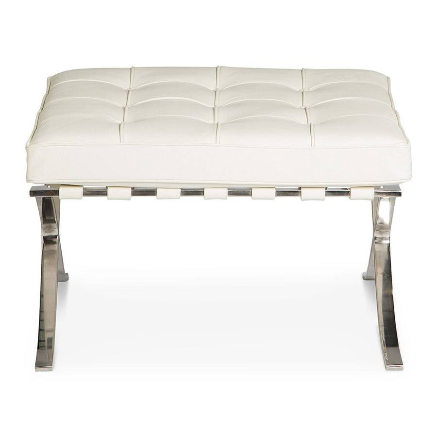 Mid Century Modern Replica Ludwig Mies van der Rohe Leather Barcelona Ottoman in White