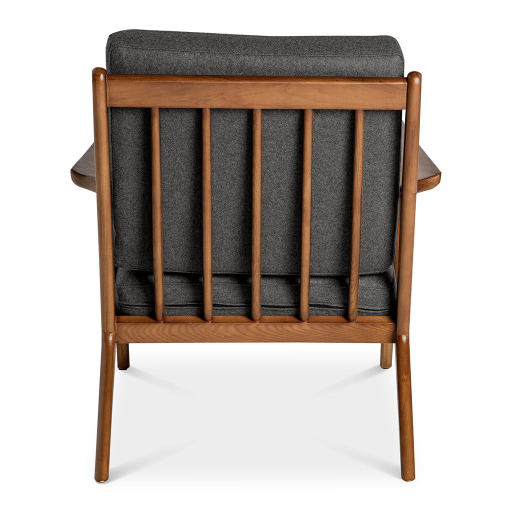 Mid Century Modern Replica Poul Jensen Wooden and Cashmere Selig Z Armchair in Dark Grey