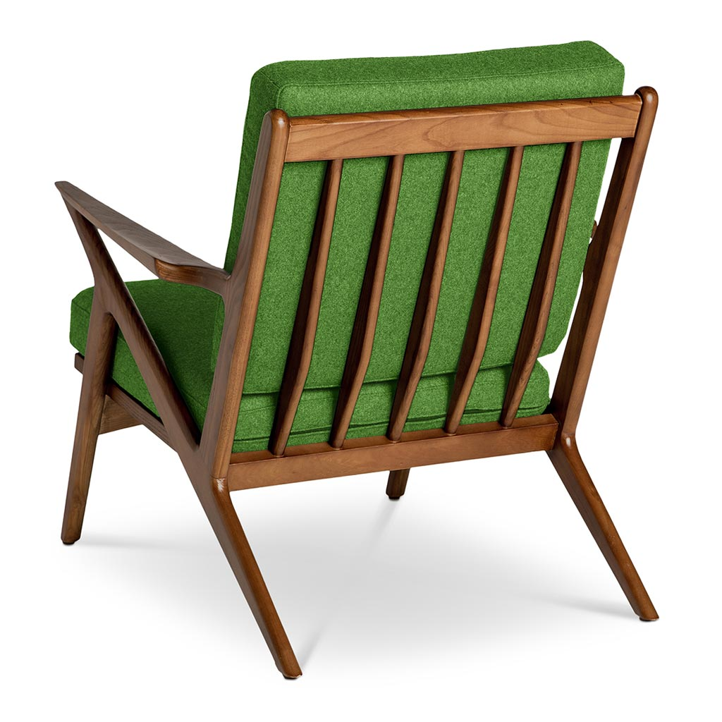 Mid Century Modern Replica Poul Jensen Wooden and Cashmere Selig Z Armchair in Green