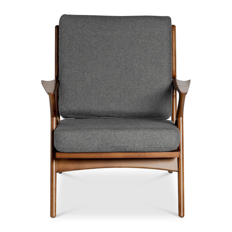Mid Century Modern Replica Poul Jensen Wooden and Cashmere Selig Z Armchair in Grey