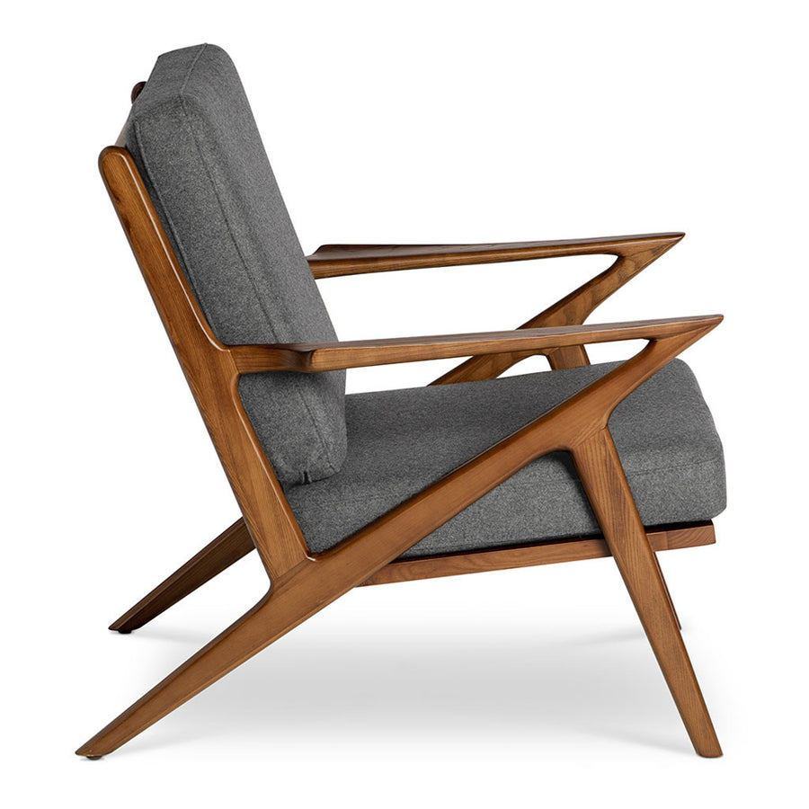 Mid Century Modern Replica Poul Jensen Wooden And Cashmere Selig Z Armchair  In Grey ...