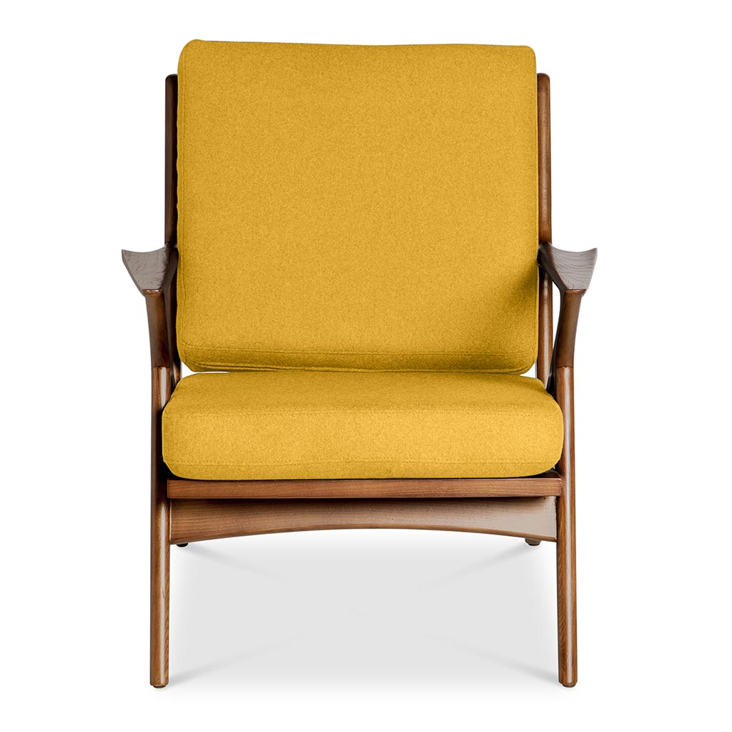 Mid Century Modern Replica Poul Jensen Wooden and Cashmere Selig Z Armchair in Yellow