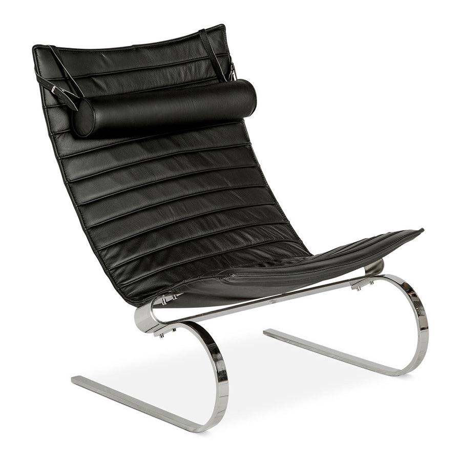 Mid Century Modern Replica Poul Kjærholm Leather PK20 Lounge Chair in Black