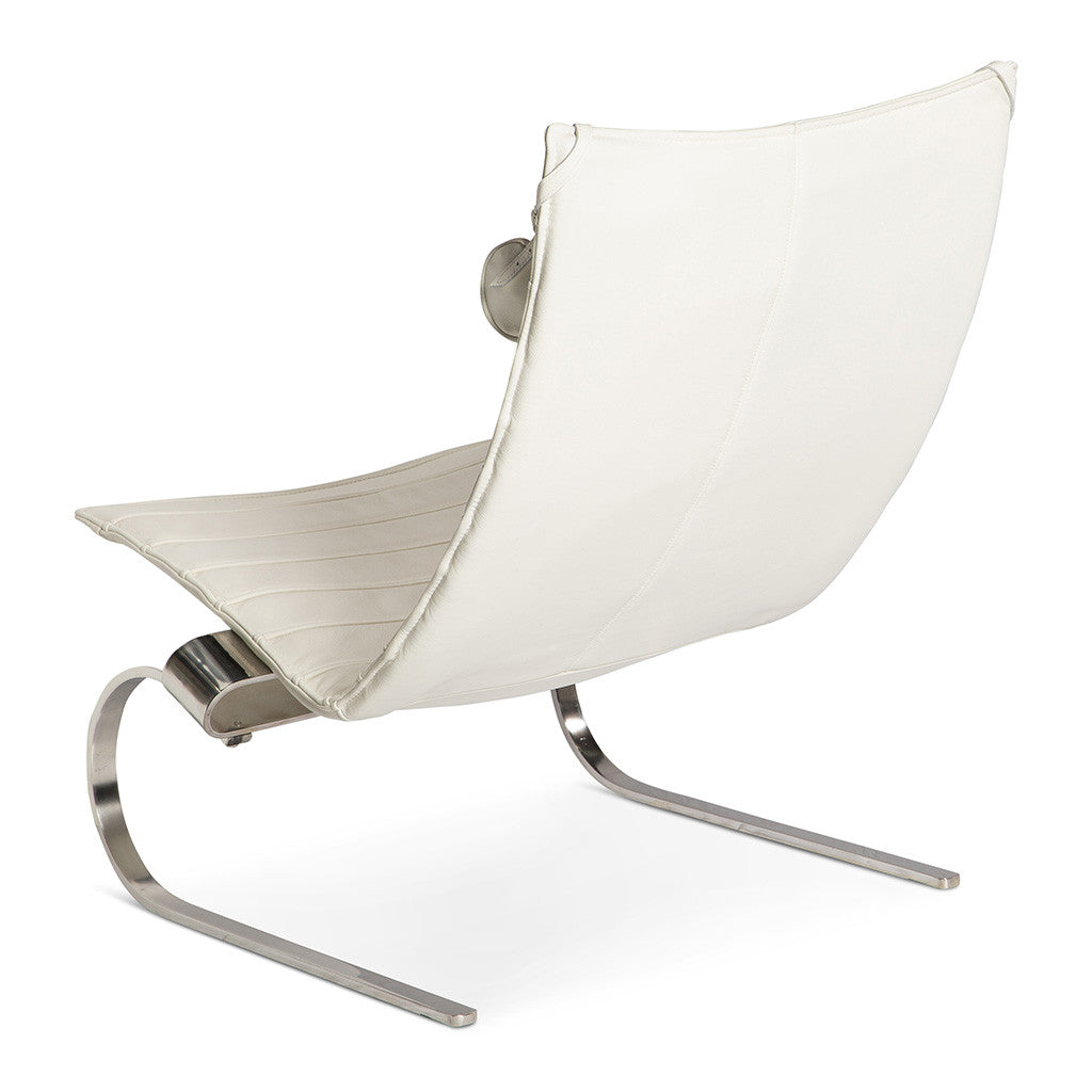 Mid Century Modern Replica Poul Kjærholm Leather PK20 Lounge Chair in White