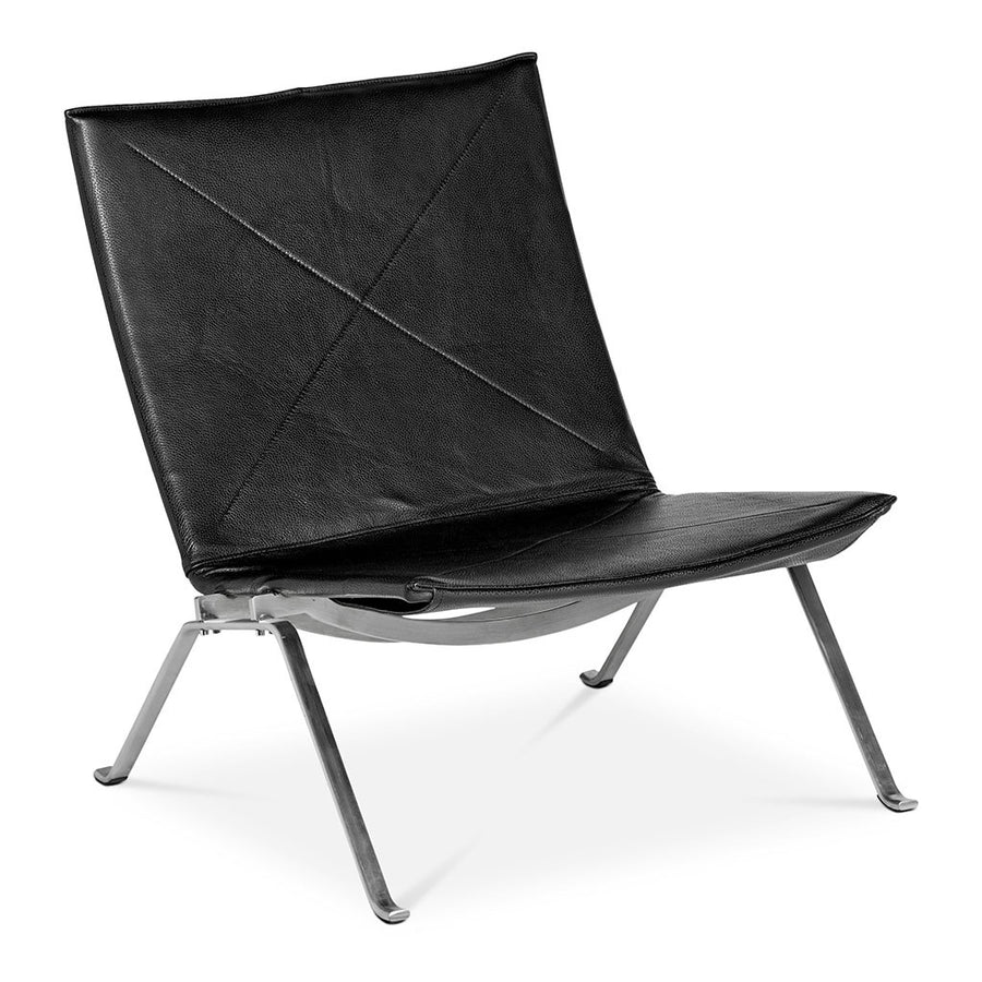 Mid Century Modern Replica Poul Kjærholm Leather PK22 Lounge Chair in Black