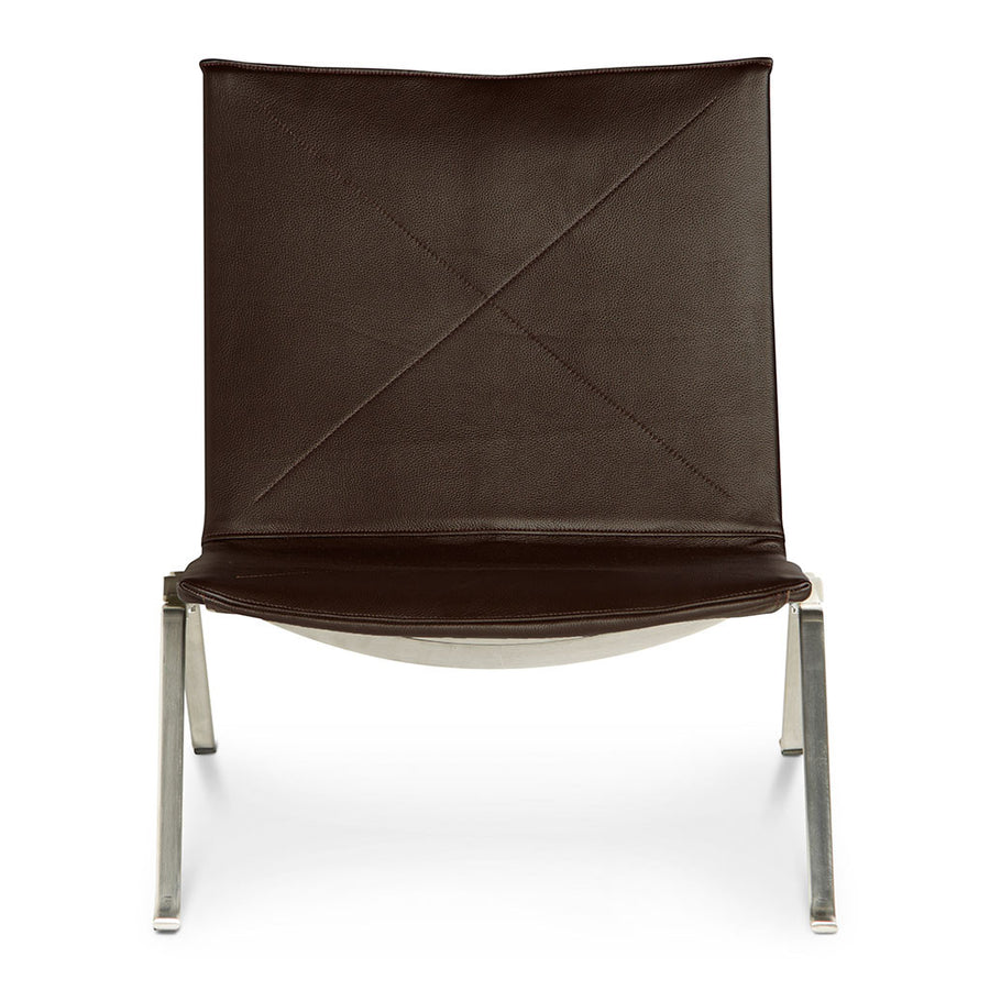 Mid Century Modern Replica Poul Kjærholm Leather PK22 Lounge Chair in Brown