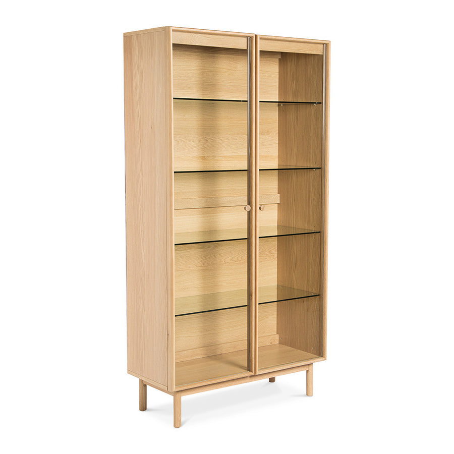 Natsumi Japanese Scandinavian Wooden Oak Display Cabinet / Case RETROJAN Akira Contemporary Display Cabinet - Walnut, LIFE INTERIORS Koto Bookcase (Oak)