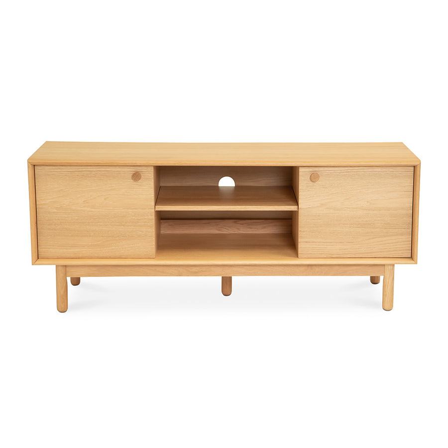Natsumi Japanese Scandinavian Wooden Oak Entertainment Unit RETROJAN Akira Contemporary  Narrow Entertainment Unit, LIFE INTERIORS Koto Entertainment Unit (Oak, Small)