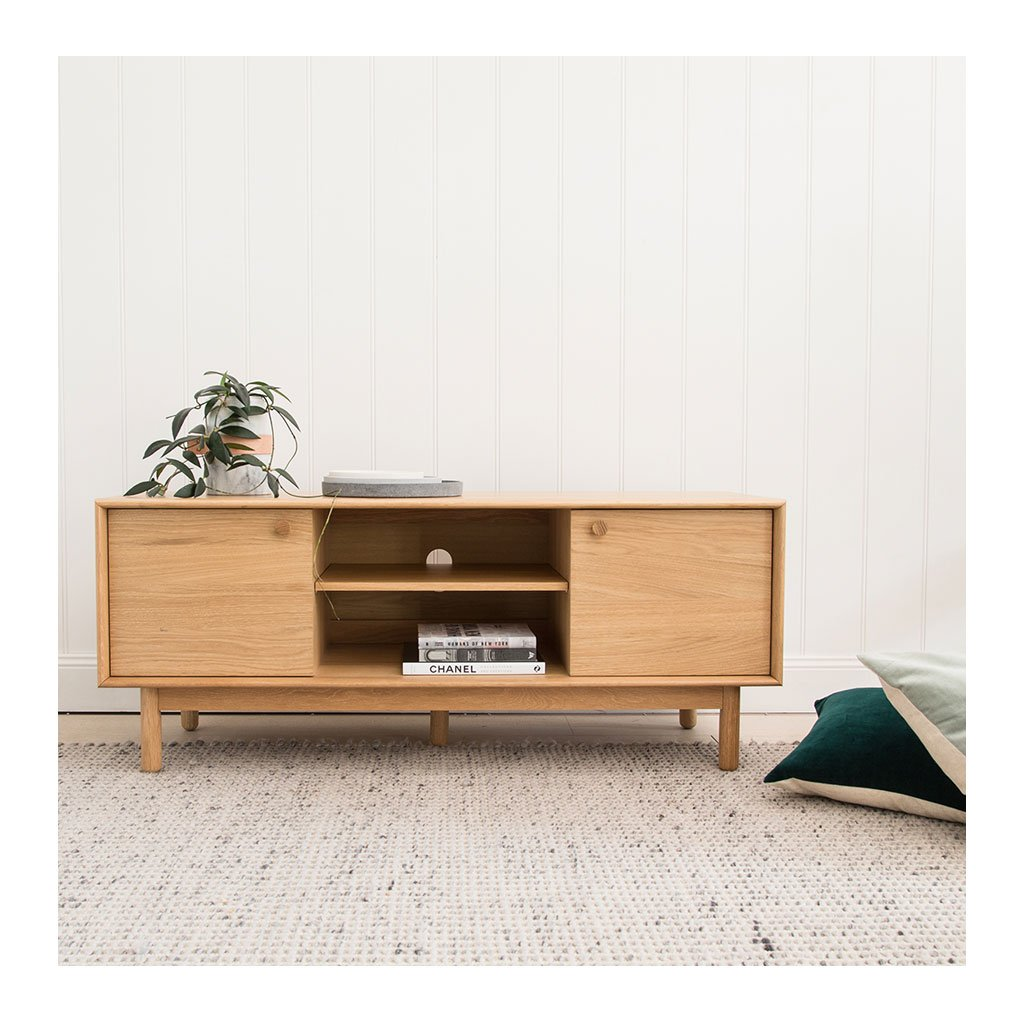Natsumi Japanese Scandinavian Wooden Oak Entertainment Unit RETROJAN Akira Contemporary Narrow Entertainment Unit