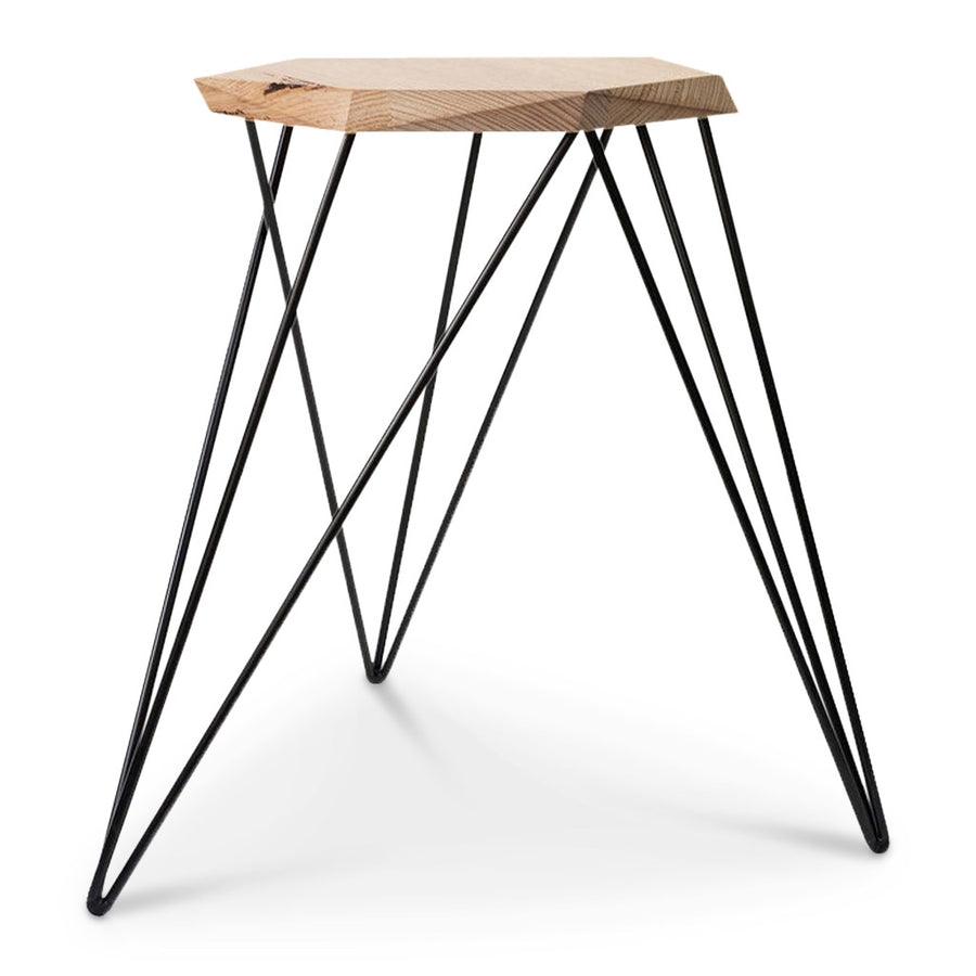 Nebulab Designs Geometric Warm Wood and Black Steel Side Table Small