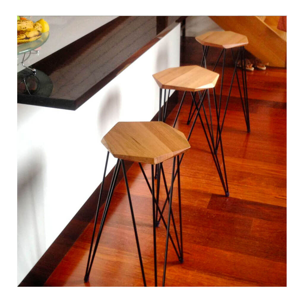 Nebulab Design Geometric Warm Wood and Black Steel 3 Bar Stools in kitchen