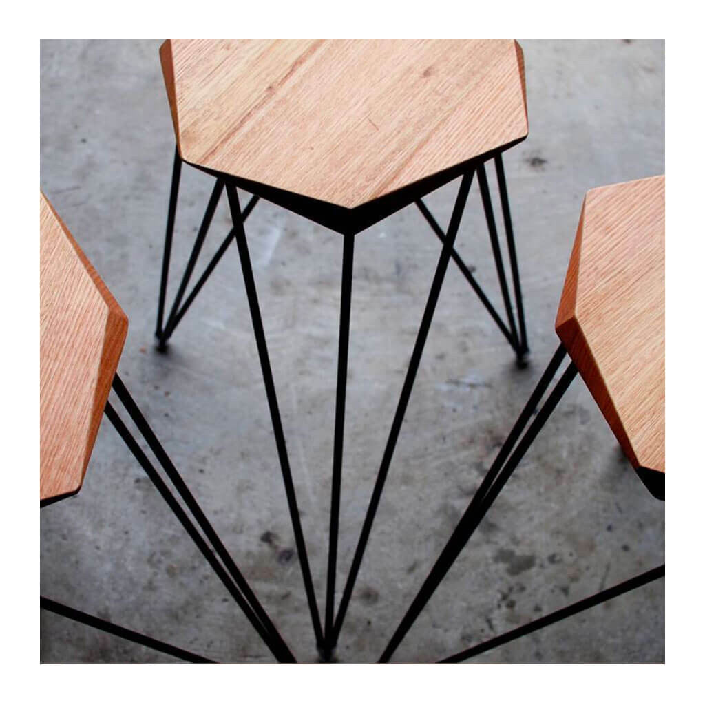 Nebulab Design Geometric Warm Wood and Black Steel Bar Stools Top Down