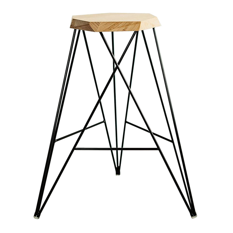 Nebulab Designs Geometric Natural Wood and Black Steel Bar Stool With Footrests