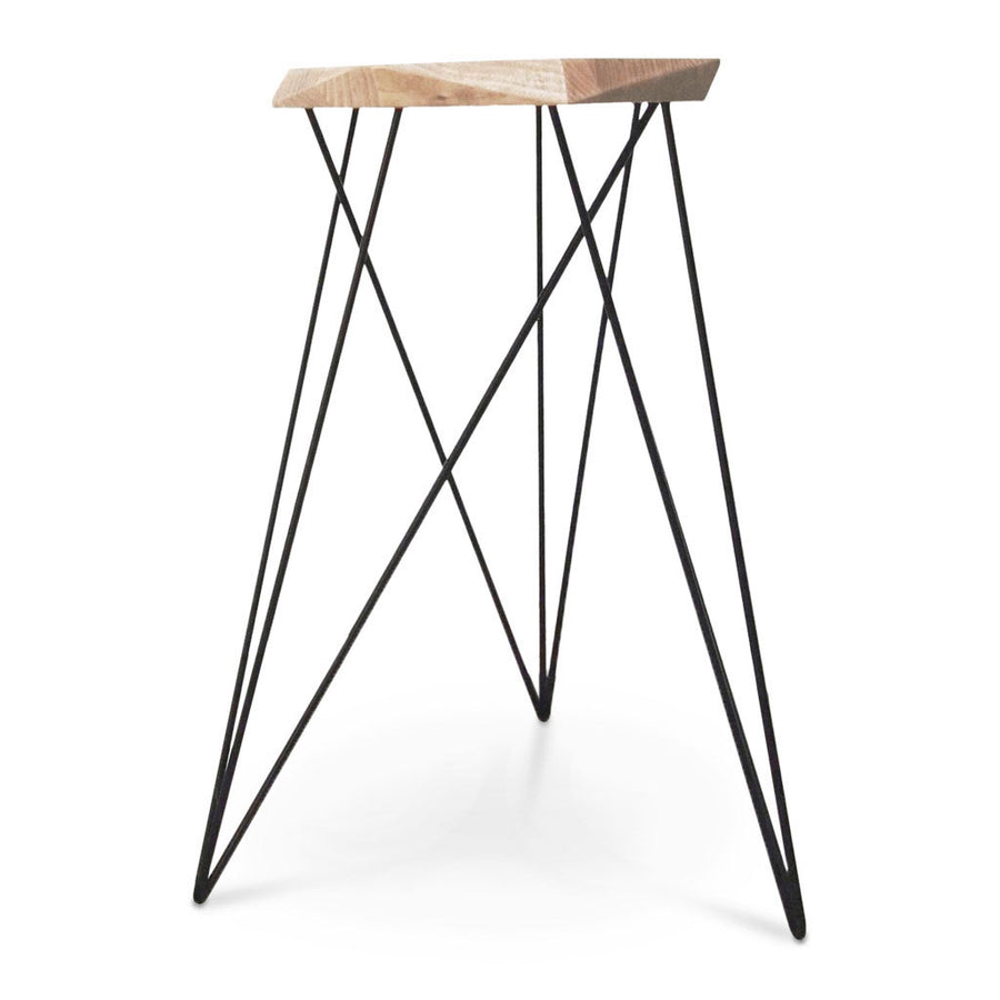 Nebulab Designs Geometric Natural Wood and Black Steel Bar Stool