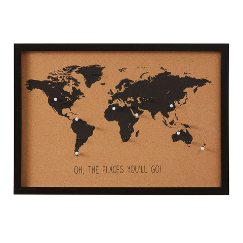 World Map Cork Board + Pins by Emporium