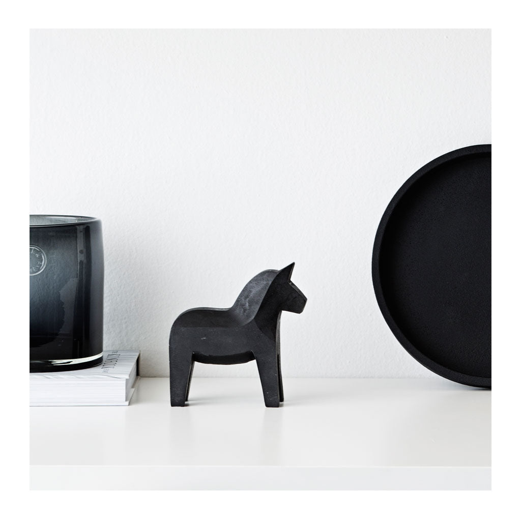 Concrete Dala Horse Black The Design Edit