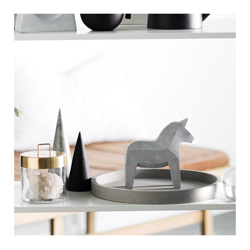 Concrete Dala Horse Natural Grey The Design Edit