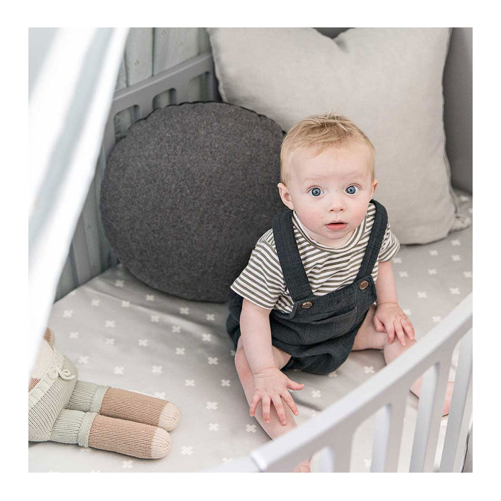 Sleepy Silk, Silk Fitted Sheet for Cots / Cribs - Dove Grey Crosses Grey - crosses (SS-FC-GR01) for baby hair loss and baby bald spots, Silky Tots 100% Silk Cot Sheet, Pawda Baby 100% Mulberry Silk Cot Full Fitted Sheet, Monday Silks, Baby Tresses Cot Bed Sheet