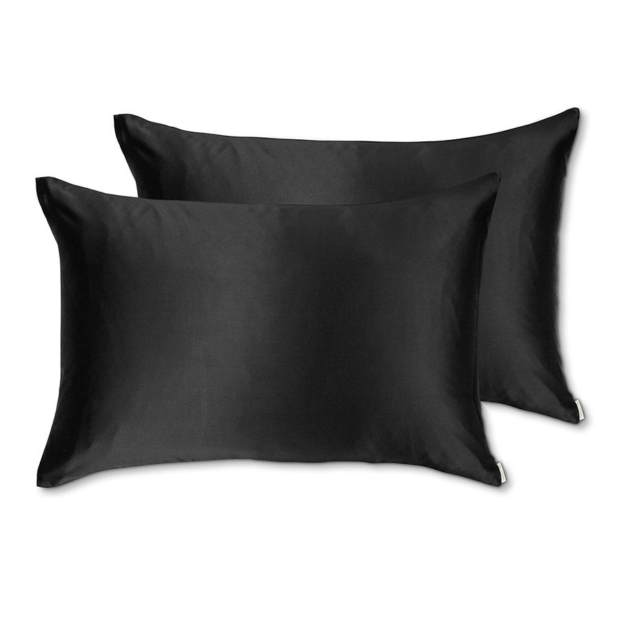 Sleepy Silk, Silk Pillowcase, Set of 2 - Midnight Black (SS-PP-BK00), Silky Tots Double Sided Silk Pillow Slip, Pawda Baby 100% Mulberry Silk Junior or Adult Pillow Case, Slip Pillowcase, SHHH Silk Silk Pillowcase