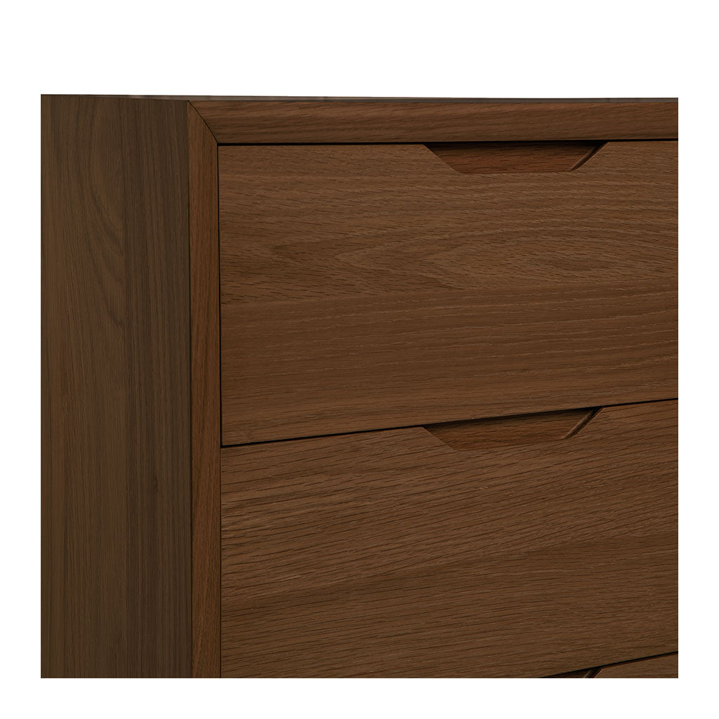 Stefan Scandinavian Walnut and Beech Wood 3 Drawer Wide Chest of Drawers RETROJAN  Harper 3 Drawer Chest - Walnut
