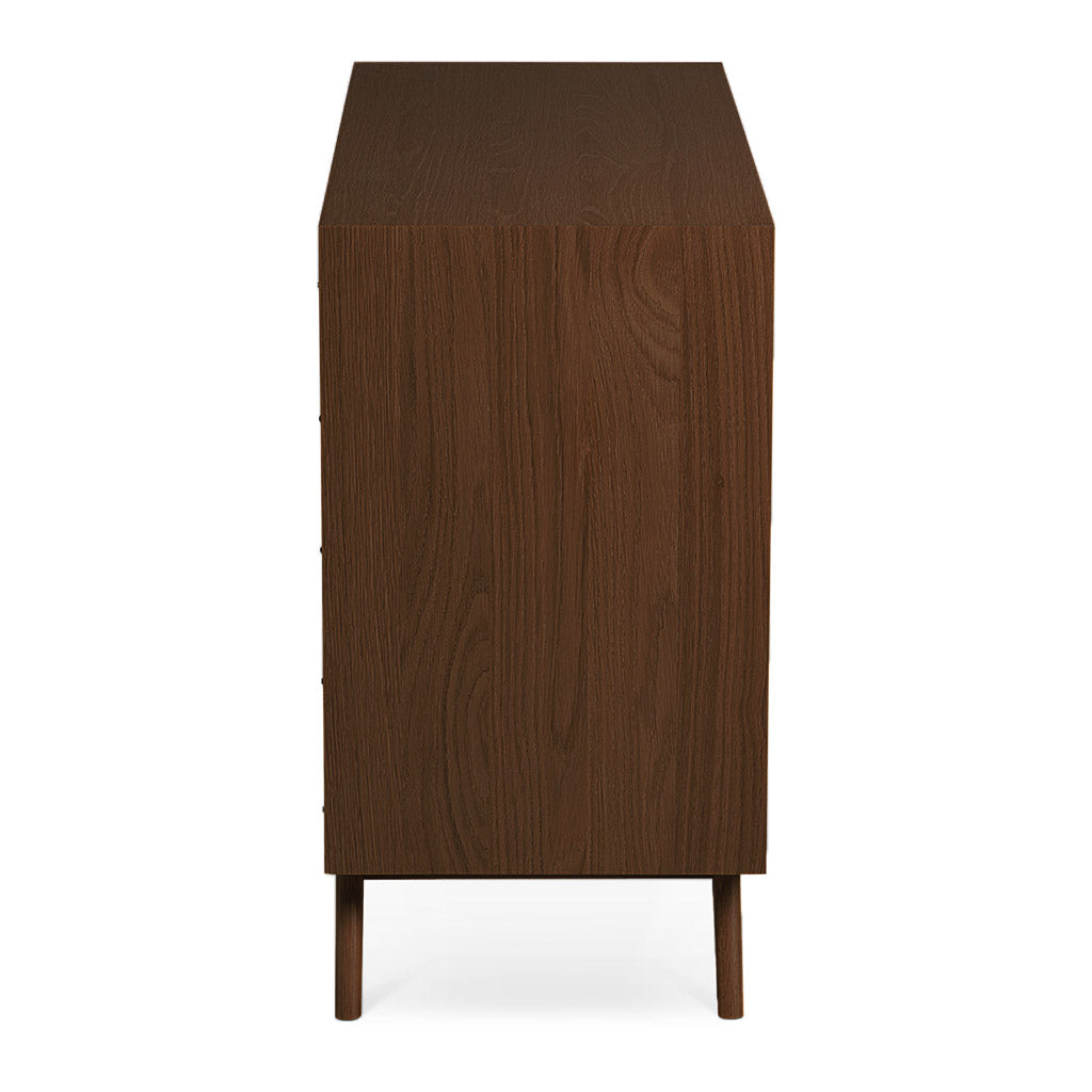 Stefan Scandinavian Walnut and Beech Wood 3 Drawer Wide Chest of Drawers