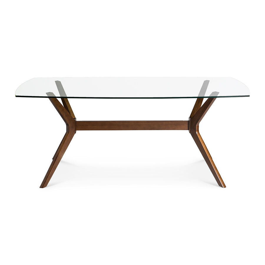 Stefan Scandinavian Walnut and Beech Wood 6 Seater Dining Table with Glass Top BROSA Elizabeth Glass Top Dining Room Table INTERIOR SECRETS DT1031-VN Nora 1.85m Glass Dining Table - Walnut